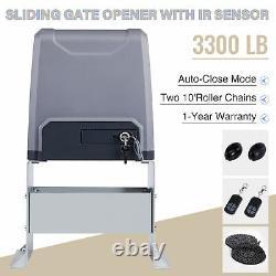 3300lb Electric Sliding Gate Opener Operator Gates Kit Automatic Remote Control