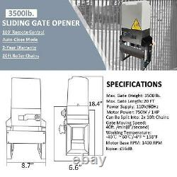 3500lbs Sliding Gate Opener Hardware Sliding Driveway Kit with 2x Operator Remote