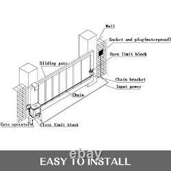 550W Automatic Electric Slide Gate Opener 3300lbs Sliding Door Operator Kit