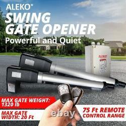 ALEKO Solar Powered Kit Swing Gate Operator For Dual Gates up to 1320 lb