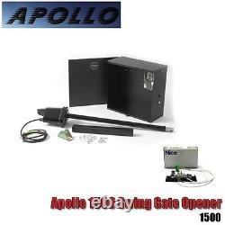 Apollo 1500 Complete Kit Single Swing Gate Opener 1Receiver 2 Remote Solar Panel
