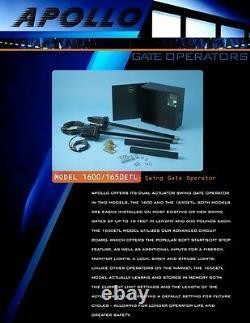 Apollo 1600 Dual Gate Opener Swing Gate Kit Electric Automatic Operator