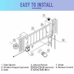 CO-Z Auto Sliding Gate Opener Driveway Opening Kit Security System 1400 lbs