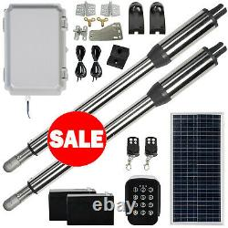 DCHOUSE Solar Automatic Gate Opener Dual Swing Gate Opener 880lbs Kit With Keypad