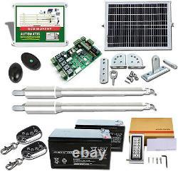Dual Solar Gate Opener Kit 600KG Swing Gate 50m Control With Waterproof Keypad