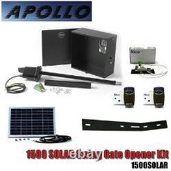 Gate Opener Single Swing Apollo 1500 Complete Kit 1Receiver 2Remote Solar Panel