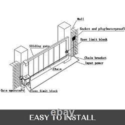 New 1800lbs Sliding Gate Opener Door Operator Kit Automatic Electric Hardware