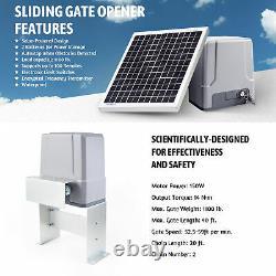Secondhand Sliding Gate Opener w 20W Solar Panel Kit Remote Controls 1100lb 40ft