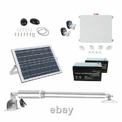 Single Swing Solar Electric Gate Opener Remote Kit Swing Up to 1400lbs withBattery
