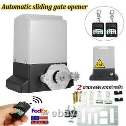 Sliding Electric Gate Opener 3300lbs Automatic Motor Remote Kit With 2 Remotes