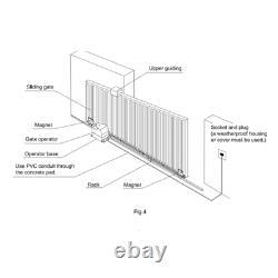 Sliding Gate Opener Solar Kit Gear Rack Driven For Up To 30 ft 900 lb ALEKO New