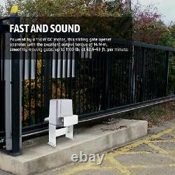 Smart Hands-Free Sliding Gate Opener with Solar Panel Kit 150W Motor 1100lb Cap