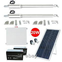 Solar Double Automatic Gate Opener Door Kit Swing Gates Up to 1440lbs with RC